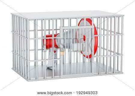 Megaphone inside cage prison cell 3D rendering isolated on white background