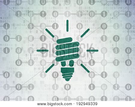 Business concept: Painted green Energy Saving Lamp icon on Digital Data Paper background with Scheme Of Binary Code
