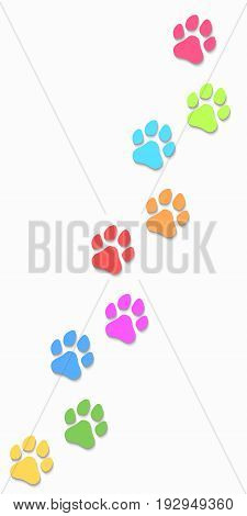 Dog tracks isolated on white background. Vertical position. Multicolored tracks. Vector illustration