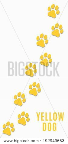 Dog tracks of yellow color isolated on white background. Vertical position. Yellow earth. Vector illustration