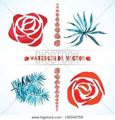 Abstract set of watercolor vector palm leaves and rose flowers. Isolated on white. Colorful watercolour tropical illustration. Elements for logo design.