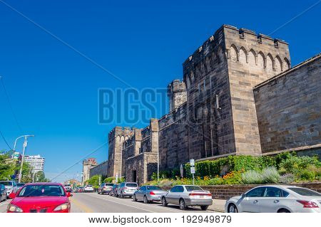 PHILADELPHIA, USA - NOVEMBER 22, 2016: Outer Walls of Historic Eastern State Penitentiary in Philadelphia.