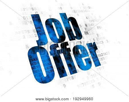 Finance concept: Pixelated blue text Job Offer on Digital background