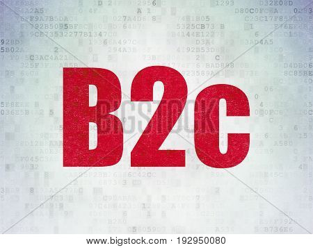 Business concept: Painted red word B2c on Digital Data Paper background