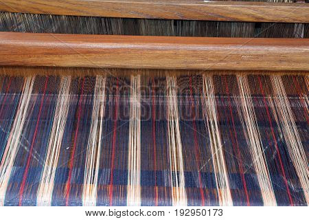 Old Fabric Weaving Frame During A Historic Re-enactment