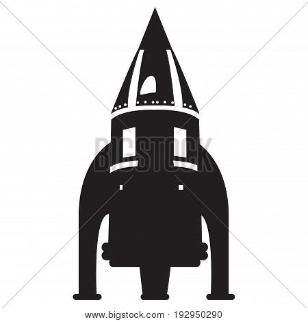 Isolated silhouette of a spaceship toy, Vector illustration