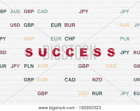 Business concept: Painted red text Success on White Brick wall background with Currency