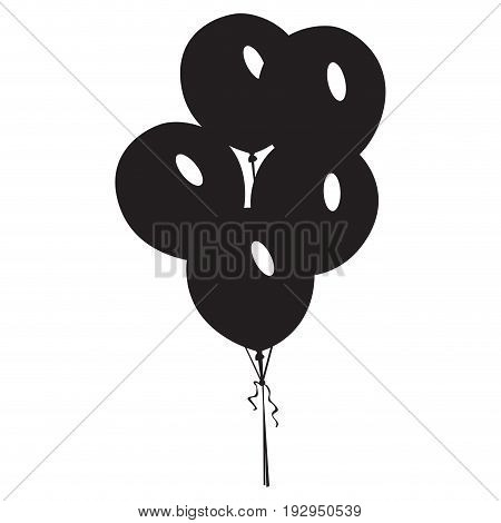 Isolated silhouette of a group of balloons, Vector illustration