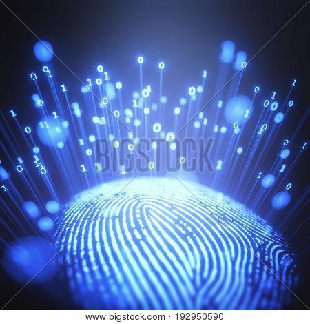 3D illustration. Image concept fingerprint emitting binary codes.