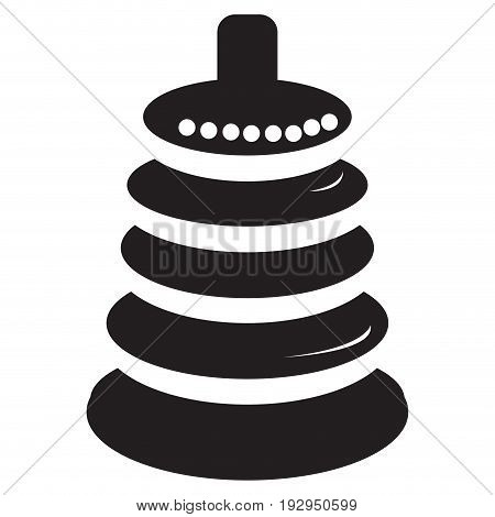 Isolated silhouette of a pyramid stack toy, Vector illustration