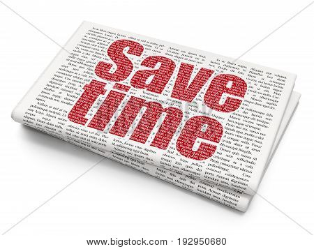 Time concept: Pixelated red text Save Time on Newspaper background, 3D rendering