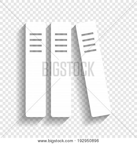 Row of binders, office folders icon. Vector. White icon with soft shadow on transparent background.
