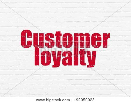 Advertising concept: Painted red text Customer Loyalty on White Brick wall background