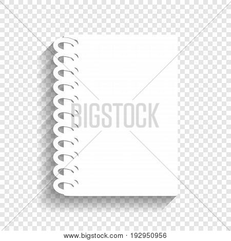 Notebook simple sign. Vector. White icon with soft shadow on transparent background.