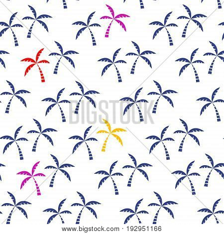Palm tree tropical seamless pattern. Vector illustration.