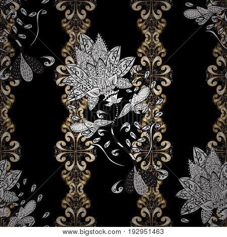 Luxury royal and Victorian concept. Vintage baroque floral seamless pattern in gold over black. Ornate vector decoration. Golden element on black background.