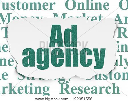 Advertising concept: Painted green text Ad Agency on Torn Paper background with  Tag Cloud