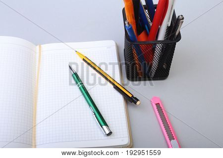 Open Blank Page notebook on desk white