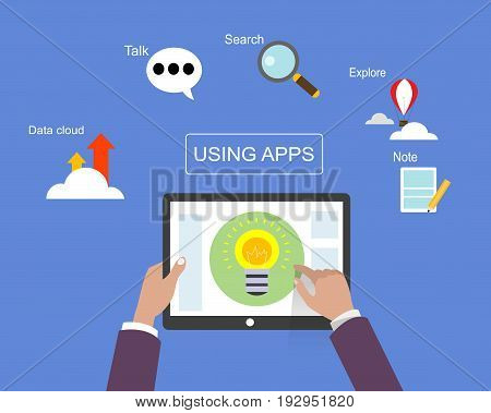 Hands holds laptop. Modern concept for web banners, web sites, infographics about using apps. Vector