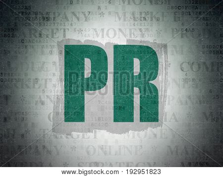 Advertising concept: Painted green text PR on Digital Data Paper background with   Tag Cloud