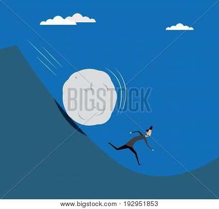 Illustration of businessman running away from big stone. Concept of financial problems. Vector