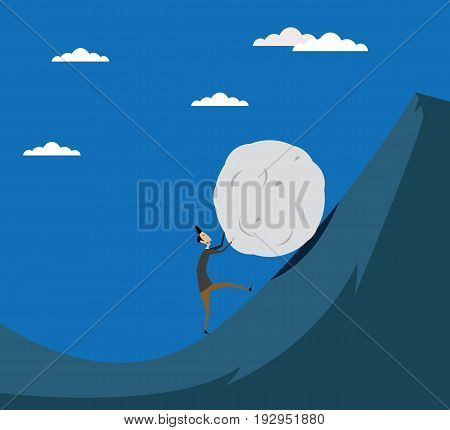 Business man pushing big stone up to hill. Concept illustration of fulfillment of heavy tasks, problems