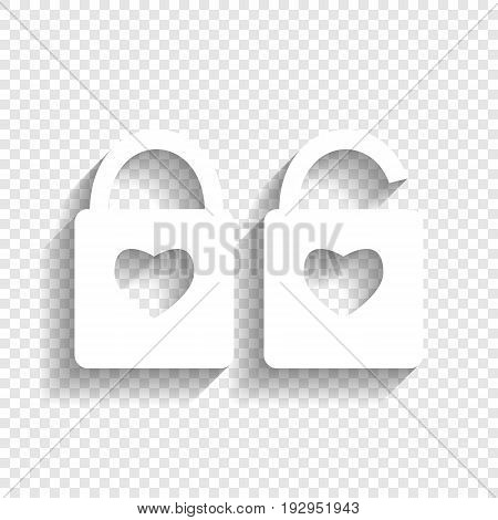 lock sign with heart shape. A simple silhouette of the lock. Shape of a heart. Vector. White icon with soft shadow on transparent background.