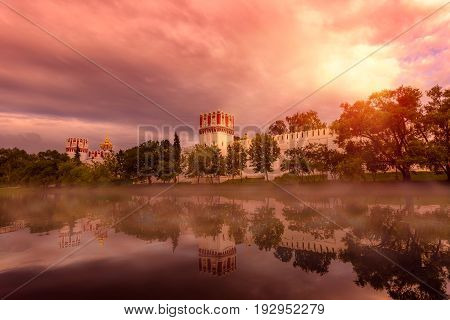 Mystycal Novodevichy Convent, Moscow, Russia. UNESCO world heritage site.