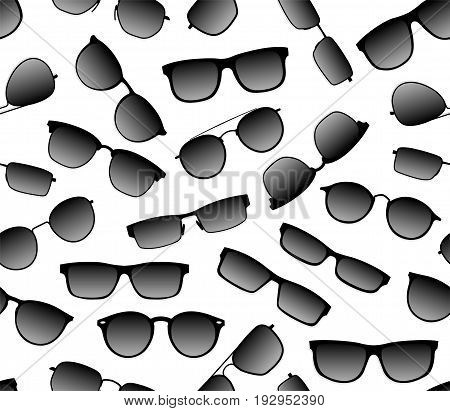 Realistic seamless vector background of dark sunscreen against ultraviolet fashion glasses. Accessory for a head in a black frame