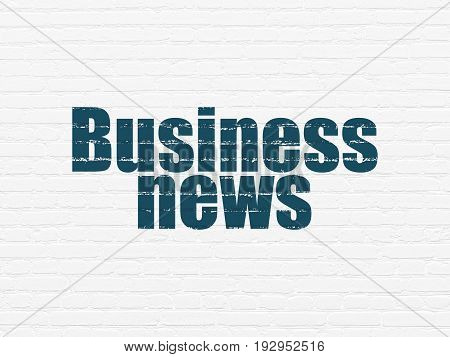 News concept: Painted blue text Business News on White Brick wall background