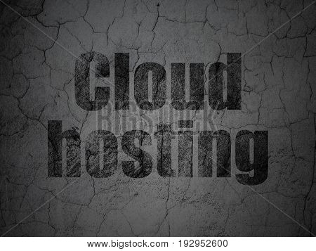 Cloud technology concept: Black Cloud Hosting on grunge textured concrete wall background