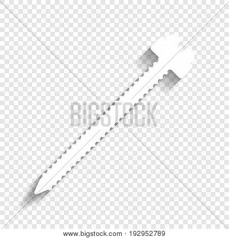 Screw sign illustration. Vector. White icon with soft shadow on transparent background.