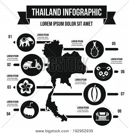 Thailand travel infographic banner concept. Simple illustration of Thailand travel infographic vector poster concept for web