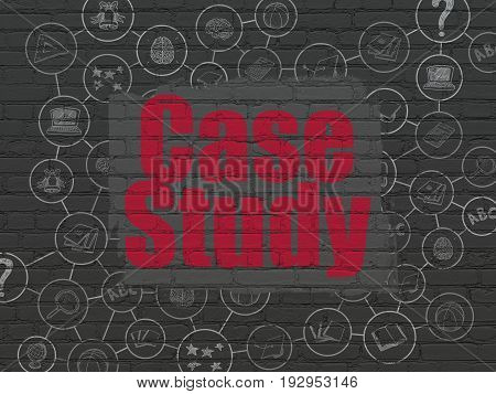 Studying concept: Painted red text Case Study on Black Brick wall background with Scheme Of Hand Drawn Education Icons