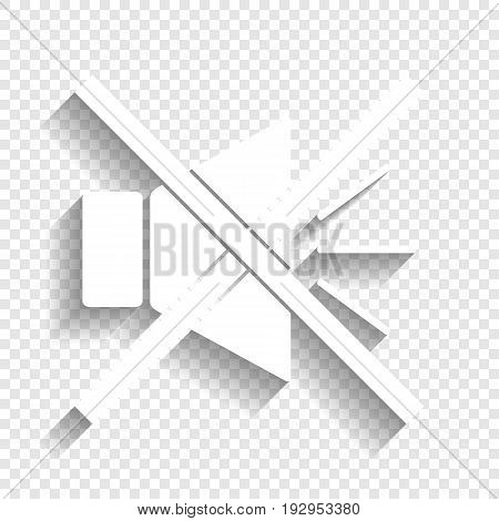 Sound sign illustration with mute mark. Vector. White icon with soft shadow on transparent background.