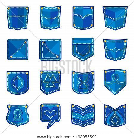 Pocket design icons set. Flat illustration of 16 pocket design vector icons for web