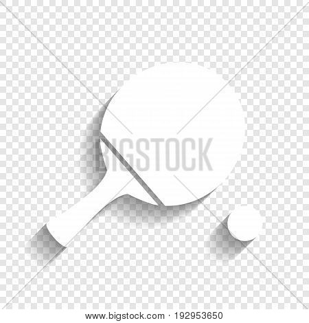 Ping pong paddle with ball. Vector. White icon with soft shadow on transparent background.