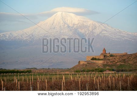 Ancient monastery Khor Virap in Armenia with Ararat mountain on the background
