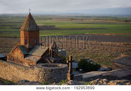 Ancient monastery Khor Virap in Armenia in the morning