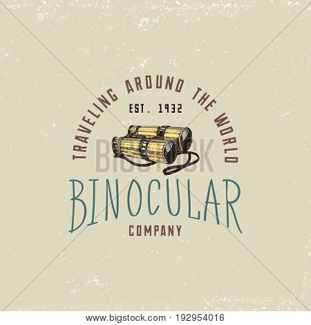 Binocular logo emblem or label monocular vintage, engraved hand drawn in sketch or wood cut style, old looking retro scinetific instrument for exploring and discovering