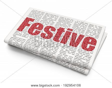 Entertainment, concept: Pixelated red text Festive on Newspaper background, 3D rendering