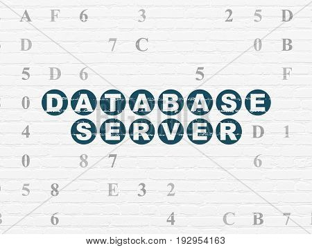 Programming concept: Painted blue text Database Server on White Brick wall background with Hexadecimal Code