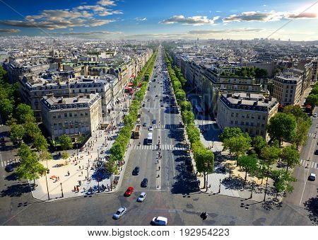 View on Avenue des Champs Elysees from Arc de Triomphe in Paris, France