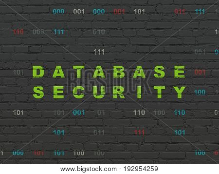 Software concept: Painted green text Database Security on Black Brick wall background with Binary Code