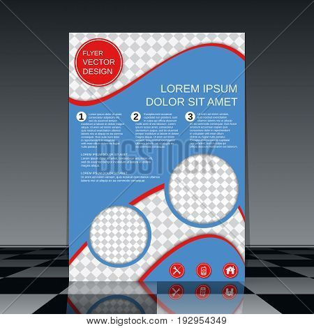 Professional business flyer vector template. Abstract blue-red geometric background