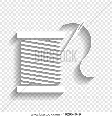 Thread with needle sign illustration. Vector. White icon with soft shadow on transparent background.