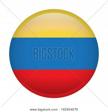 Isolated flag of Colombia on a button, Vector illustration