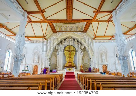 BALI, INDONESIA - MARCH 08, 2017: View from inside of the Katedral Roh Kudus, Catholic Church, located in Denpasar in Indonesia.
