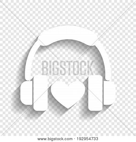 Headphones with heart. Vector. White icon with soft shadow on transparent background.