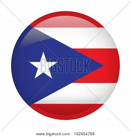 Isolated flag of Puerto Rico on a button, Vector illustration